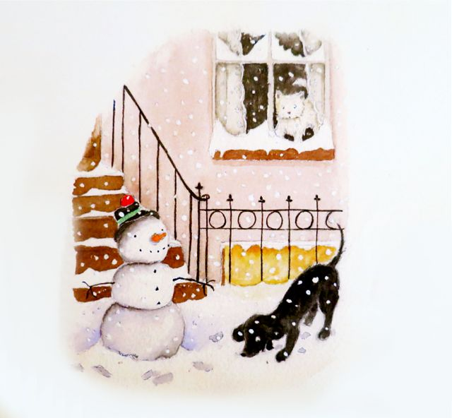 finished snowman with dog
