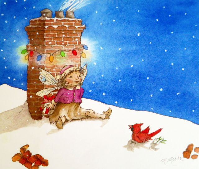 Christmas lights around a chimney