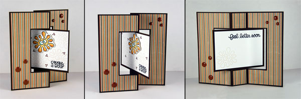 Fancy fold cards: Pictured cards closed, half open and fully open