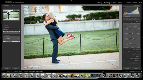 Photo of a couple displayed in Lightroom