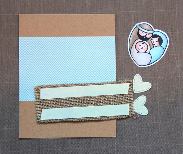 Adhere patterned paper; apply double-sided tape to burlap