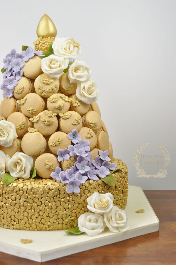 Beehive macaron tower cake by juniper Cakery