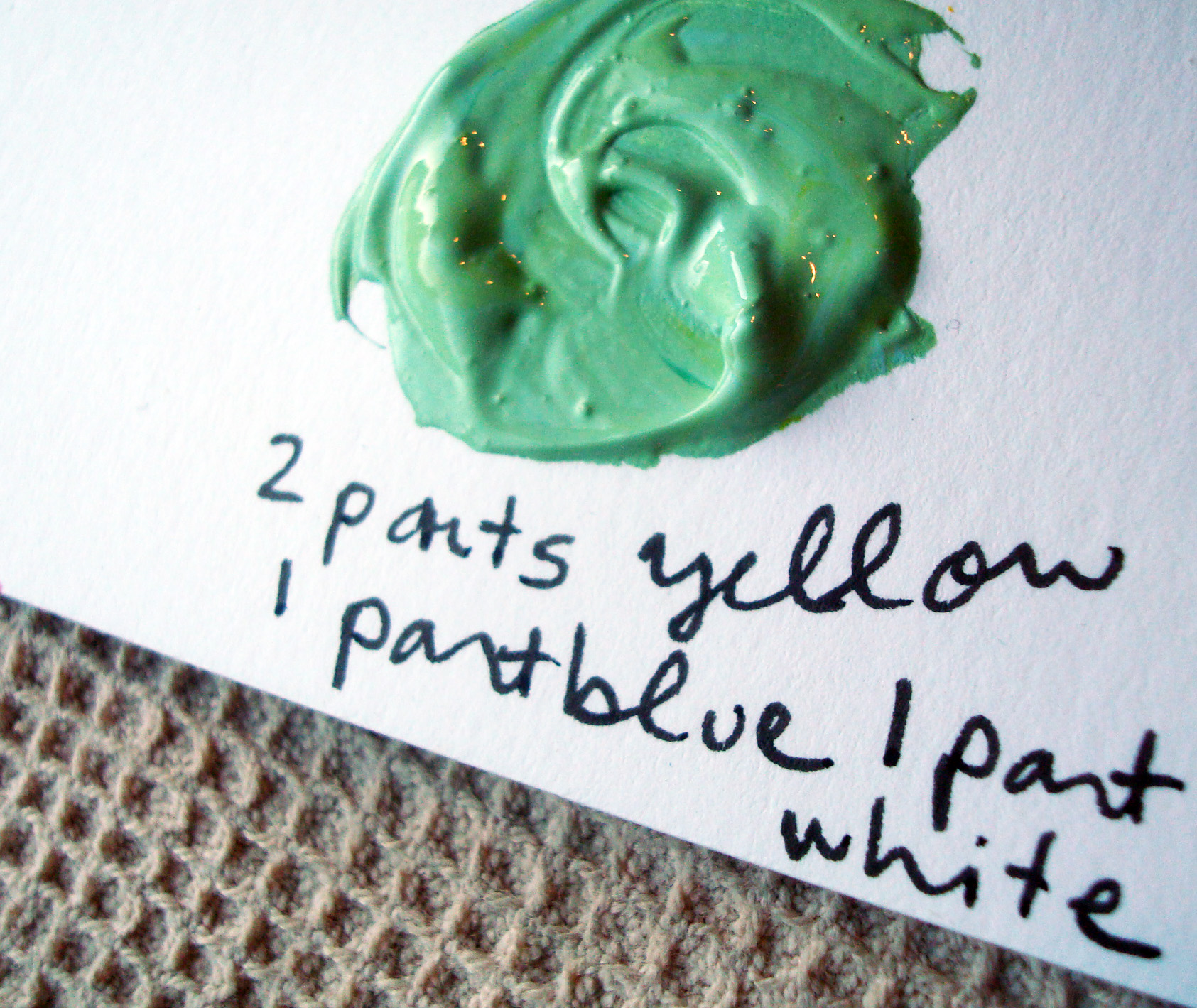 Green with yellow and white