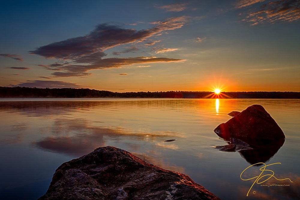 Brilliant Sunrise. Baxter Lake, NH