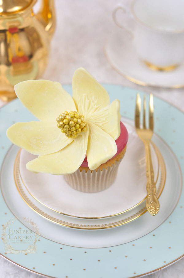 White chocolate magnolia flower cupcake by Juniper Cakery