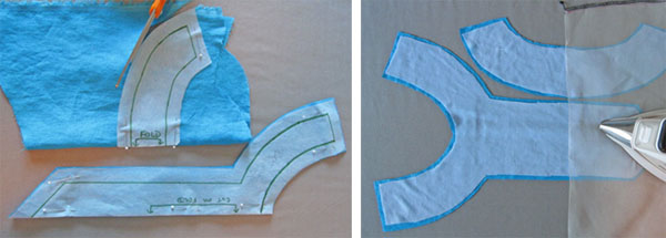 placket pieces for top