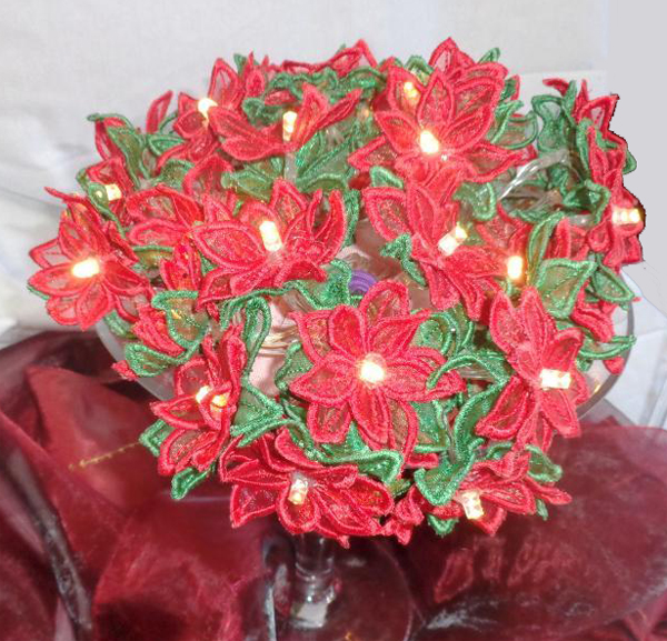 embroidered lighted poinsettia