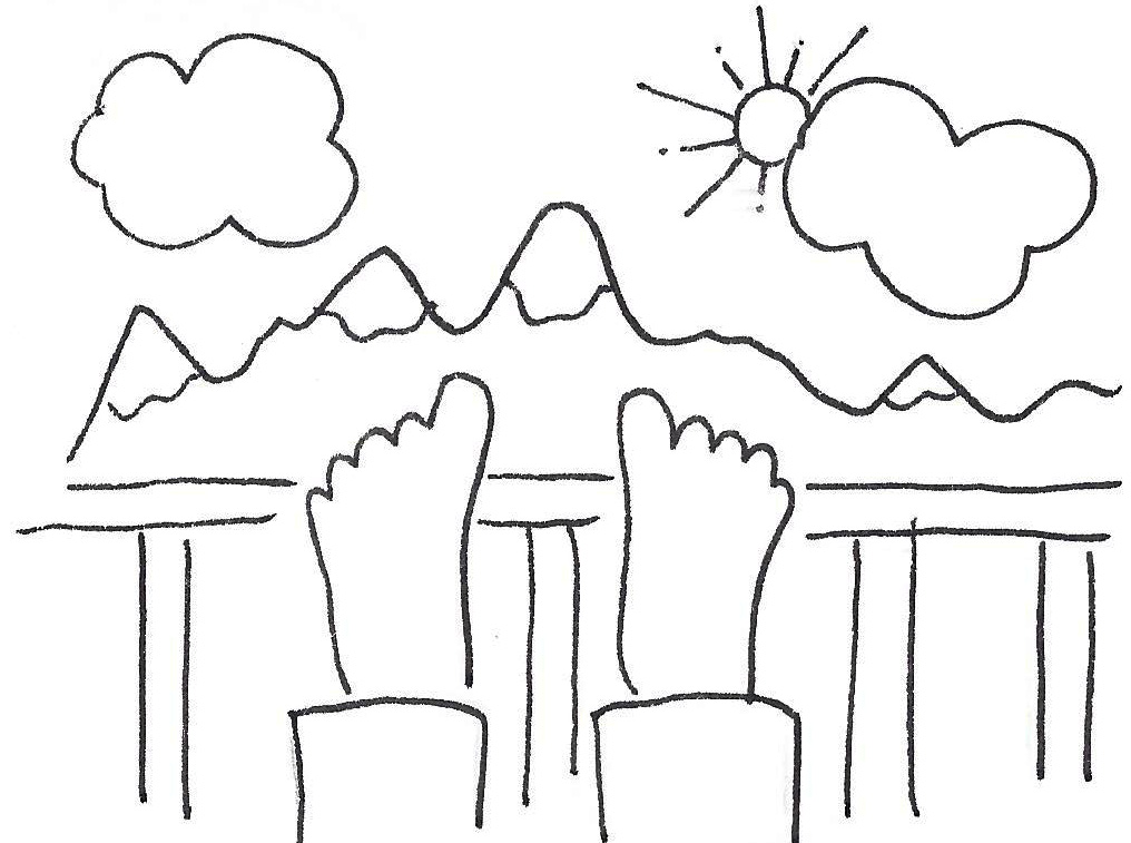 Drawing of feet propped up on a deck