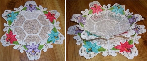 freestanding lace doily and bowl