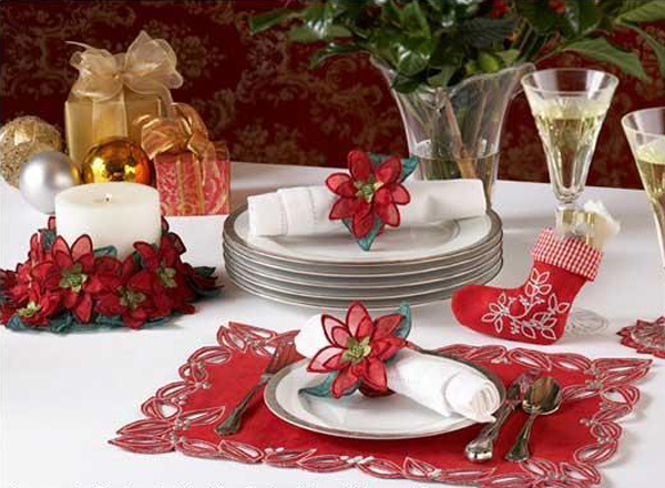 freestanding lace poinsettia table decor