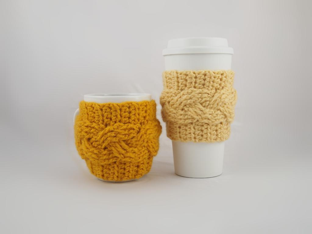 Cable Coffee Cozy Crochet Pattern