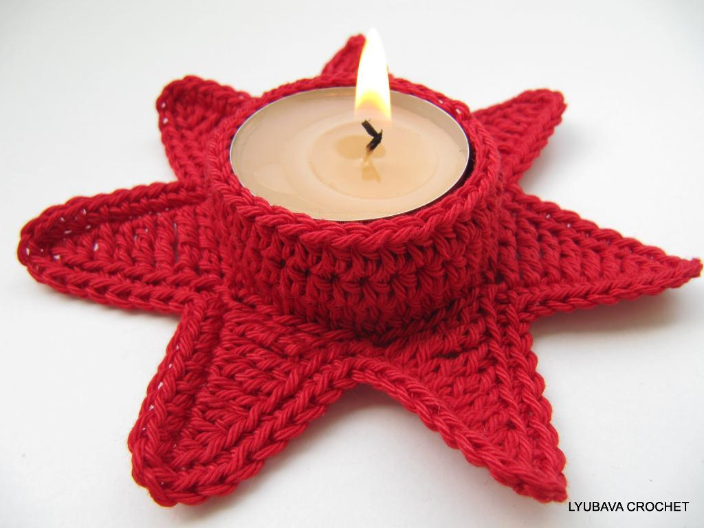 Candle Holder Christmas Red Star crochet pattern