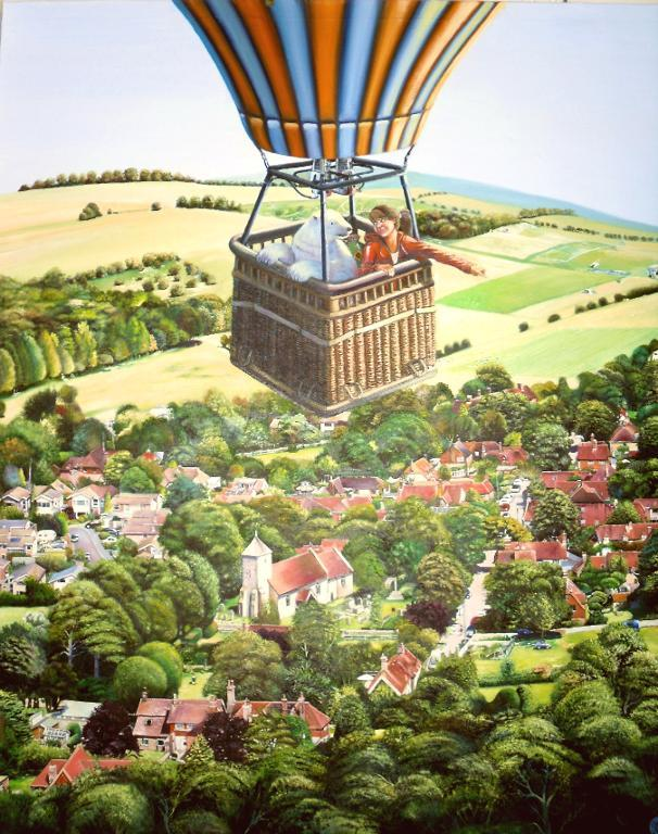 Illustration of a woman and a panda bear in a hot air balloon