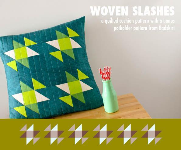 Woven Slashes Cushion and Potholder