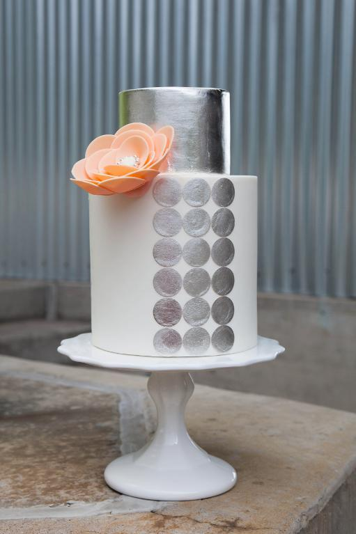 Silver dot cake by Bluprint instructor Jessica Harris