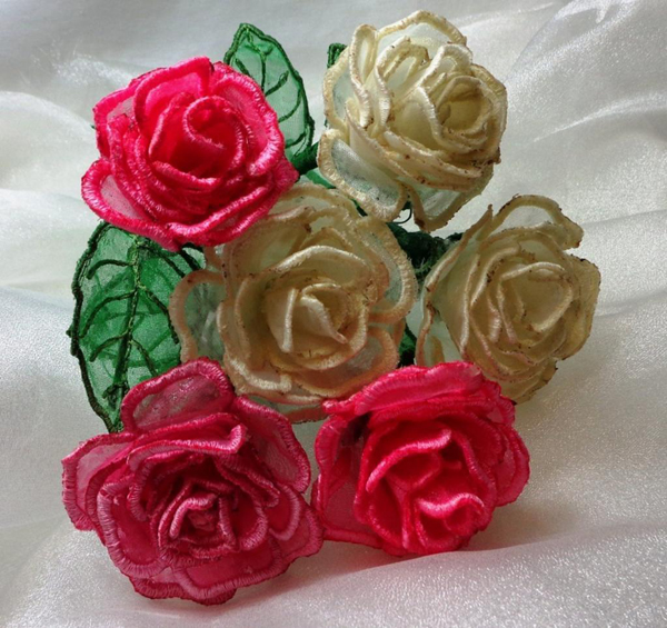 3D machine embroidered organza roses by Embroidershoppe on Bluprint