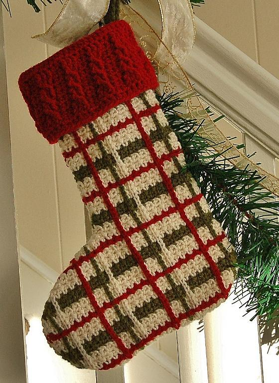 Perfectly Plaid Christmas Stocking crochet pattern