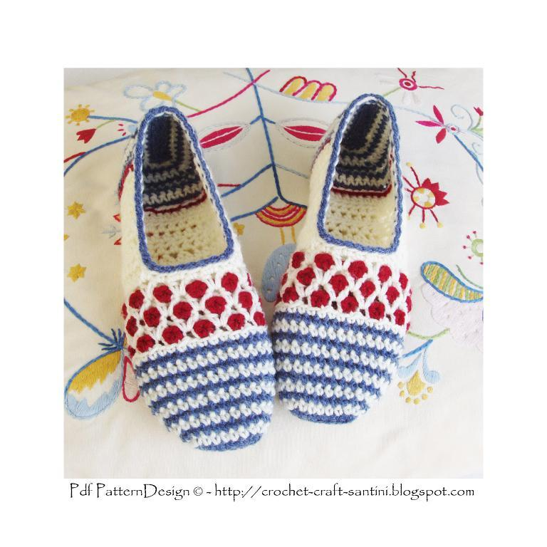 Stripe and Dot Slipper crochet pattern