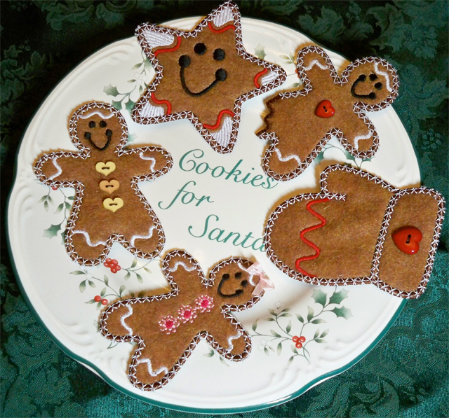 Freestanding applique gingerbread cookies on Bluprint