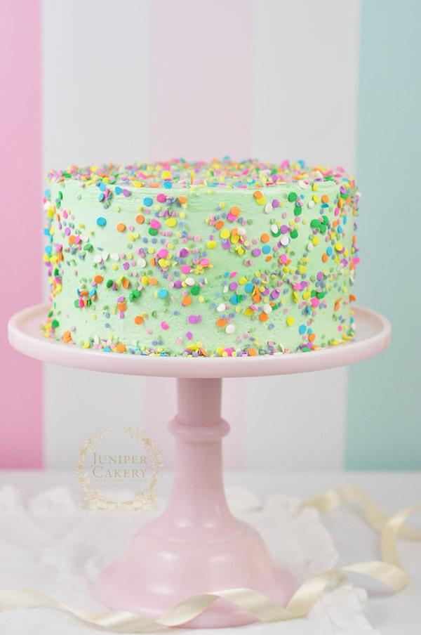 Recipe for a bright funfetti cake that's gluten-free by Juniper Cakery
