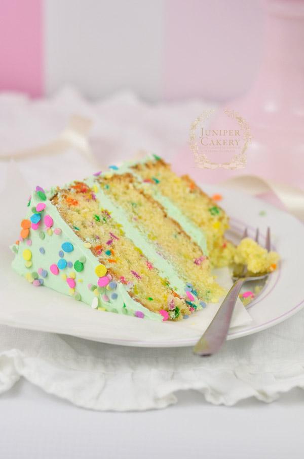 Gluten-free confetti cake recipe by Juniper Cakery