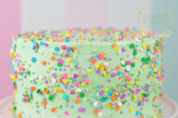 Fun recipe for gluten-free confetti cake by Juniper Cakery