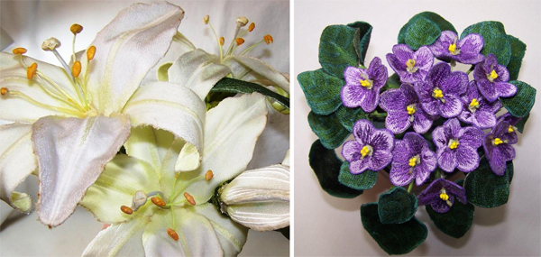 Machine embroidered 3D lily and violet on Bluprint