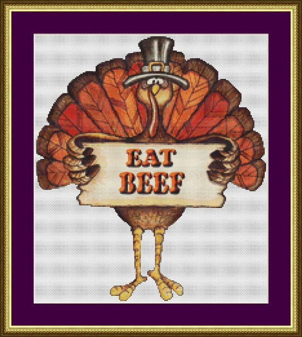 turkey holding eat beef sign