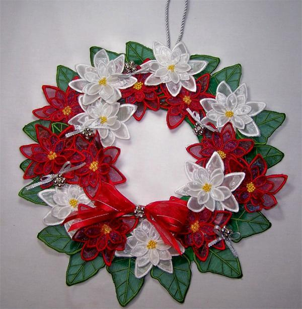 3D embroidered poinsettia wreath on Bluprint