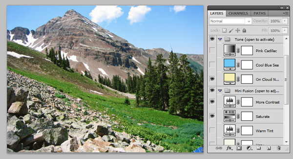 Screen shot showing a Photoshop action selectively applied