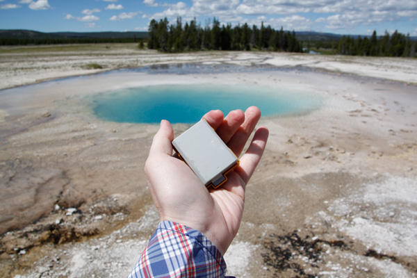 Dead camera battery at Yellowstone National Park