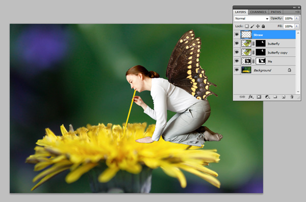 Final photographic composite in Adobe Photoshop showing all layers and masks