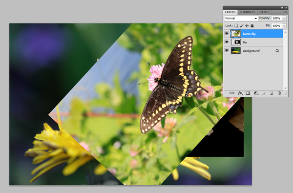 Pasted and rotated images in Adobe Photoshop