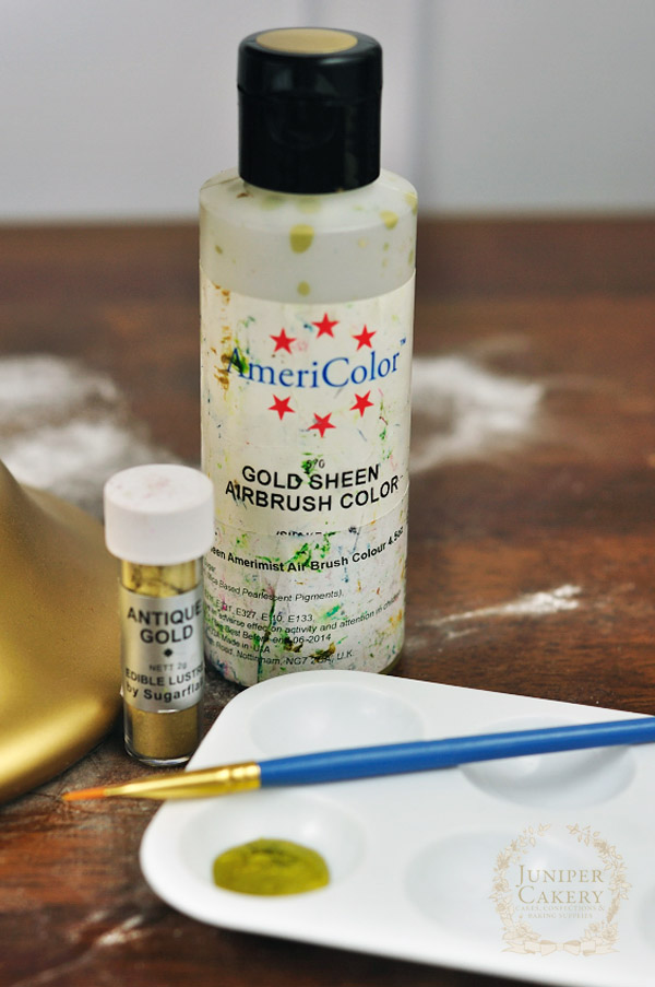 Painting cakes gold