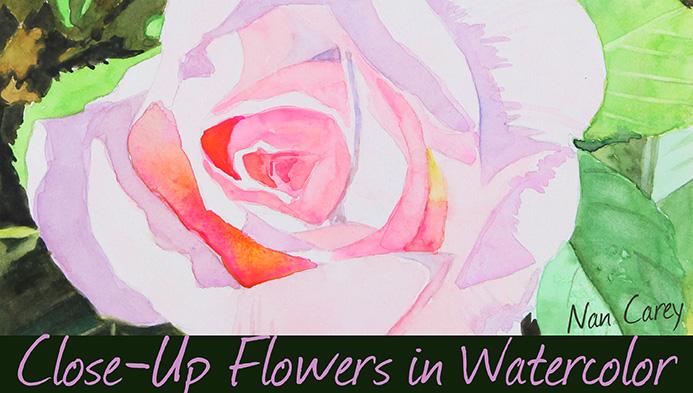 Closeup Flowers in Watercolor Class