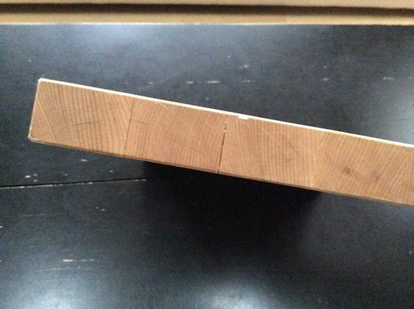 End grain of cutting board