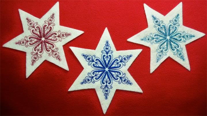 three snowflake stars