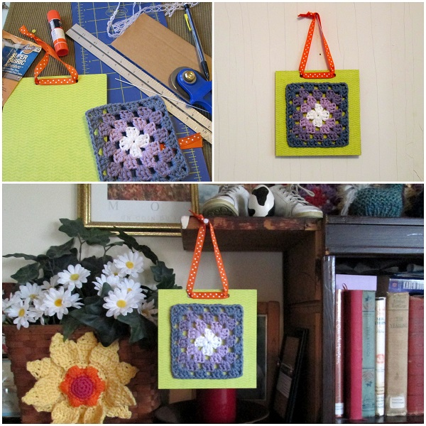 Crochet Granny Square Framed with Cardboard and Ribbon