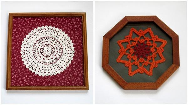 Crochet Doily and Motif Framed Under Glass