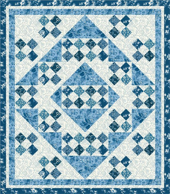 blue patterned throw quilt