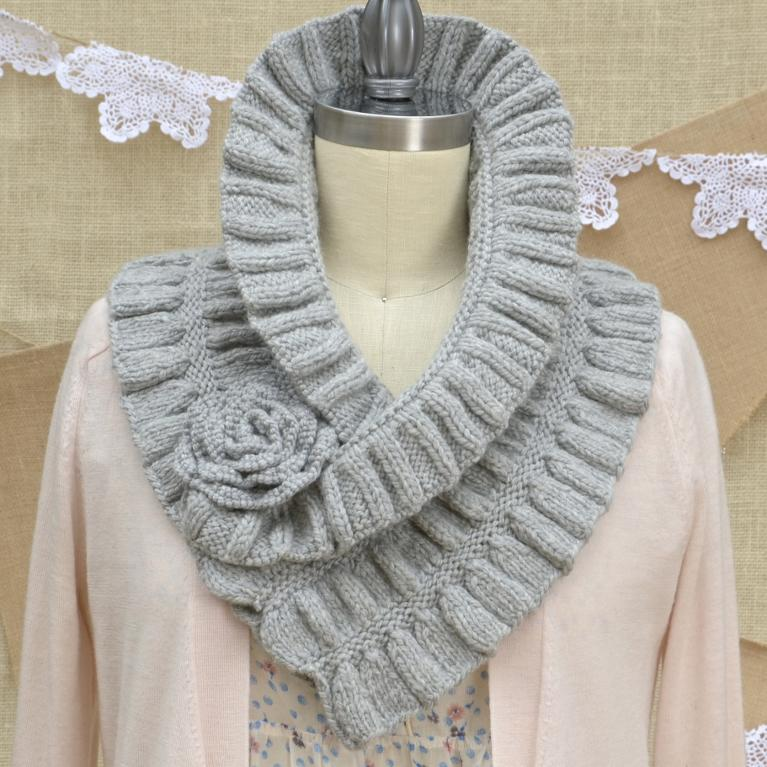 Ruffled and Ruched Scarf knitting pattern kit