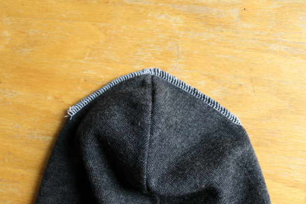 sew top seam of hat