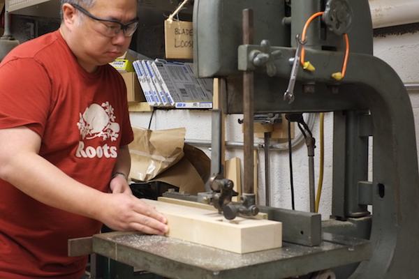 Cutting maple at the bandsaw