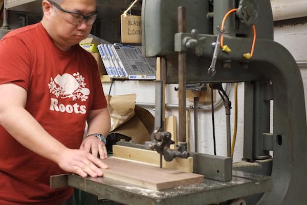 Cutting thin walnut strip at the bandsaw