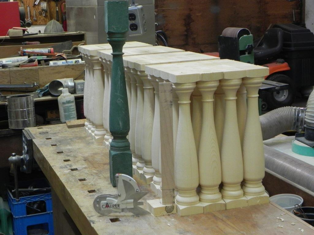 Set of spindles for historical Kaslo City Hall restoration.