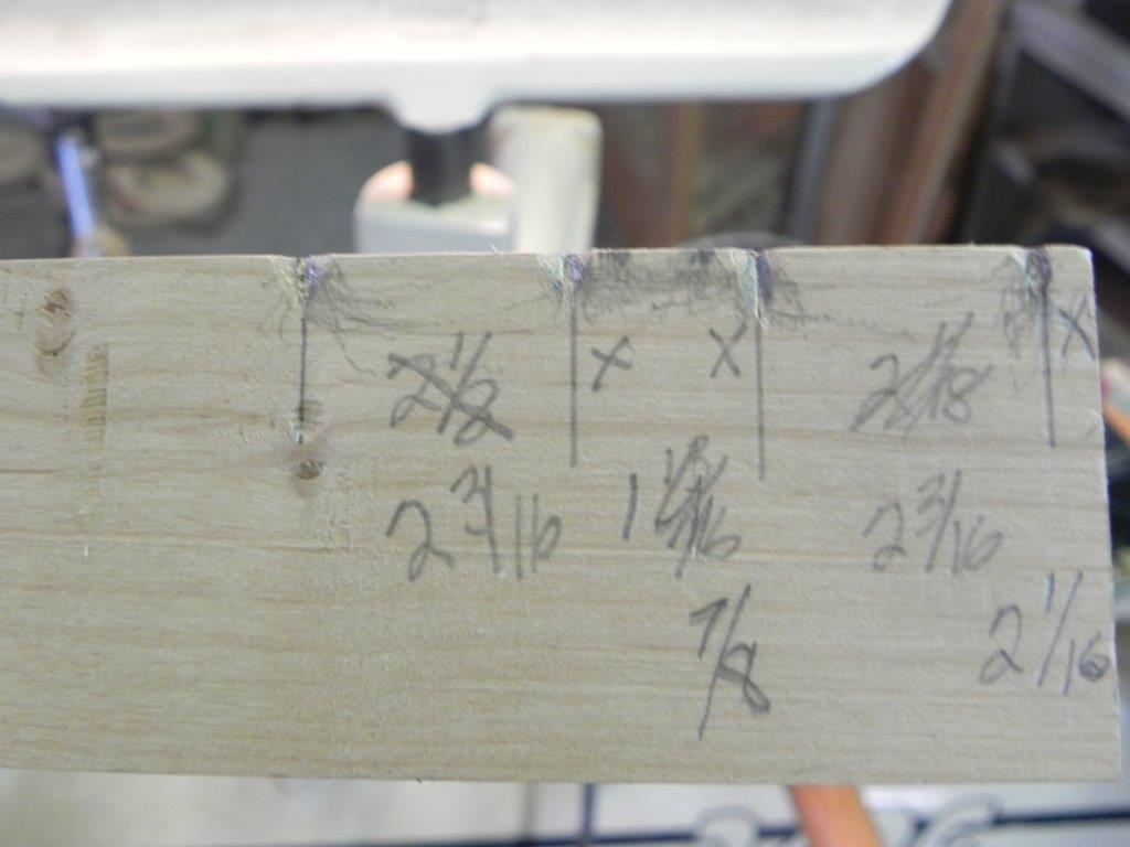 "Detail of story board. Note 'X"" indicating which side to make the sizing cut."