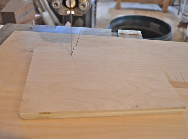 feed jig into blade until it hits the stop