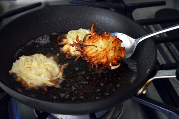 Cooking the Latkes on the Stovetop