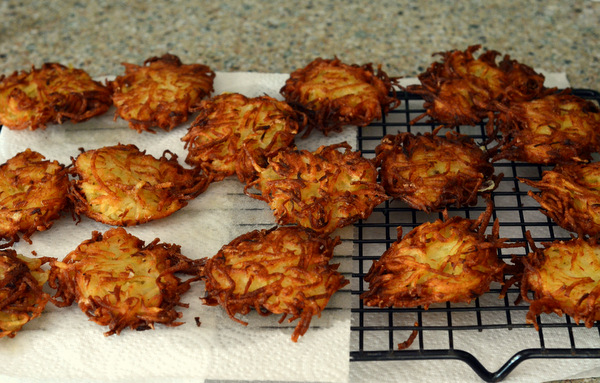 A batch of Freshly Cooked Latkes