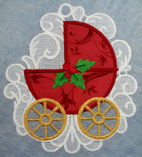 Baby's first Christmas FSL reversable applique ornament
